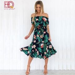 Sexy Backless Floral Print DressBohemian Sundress Vestidos Sashes Chiffon Bandage Women Dresses green s