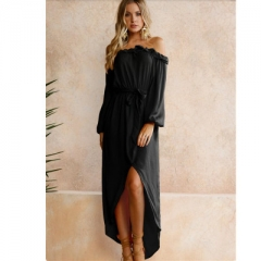 2018 Spring Summer casual Beach Dresses Off Shoulder long Sleeve Split Dress Slash Neck Robe Femme black s