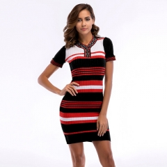 2018 Womens Stripe Dresses Sexy Club Vintage Print V Neck short Sleeve Bodycon Pencil Dress black m