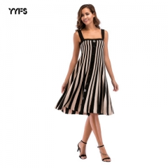 Casual Striped Beach Dress Women Sexy Sleeveless Spaghetti Strap Midi loose Summer Party Dress black m