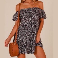 Casual Print Slash Neck Short Sleeve Off Shoulder A Line Summer Dress Backless Women Beach Vestidos black s