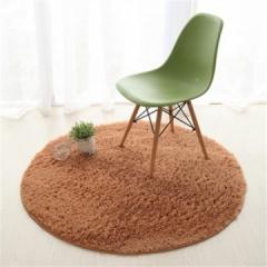 Fluffy Round Foam Rug Non Slip Shower Bedroom Carpet Yoga Fitness Mat for Adults and Children khaki 40cm