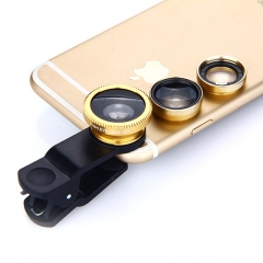 Universal 3 in 1 Clip-On Mobile Camera Lens Set Fisheye Macro Wide Angle External Clip On Lens