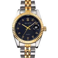 Luxury Gold Watch Men Stainless Steel Quartz Watch Waterproof Male Wristwatches for men date clock gold