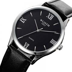 Mens Watches Luxury Fashion Watch Men Leather Waterproof Quartz Wrist Watches Men Casual Clock black