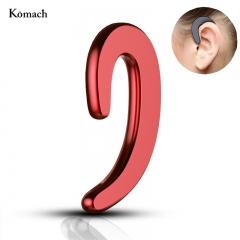 Ear-hook Bone Conduction Headset Wireless Bluetooth Earphone Stereo Headphone No earplug with Mic RED