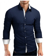 Men Shirt Male High Quality Long Sleeve Shirts Casual Hit Color Slim Fit Black Man Dress Shirts 4XL dark blue 4xl