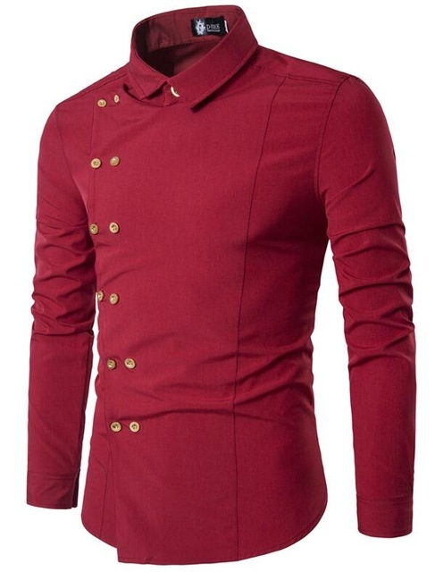 Men Shirt Double Breasted Dress Shirt Long Sleeve Slim Fit Camisa Masculina Casual Male red m