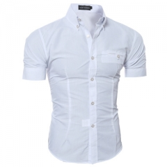 Men Shirt Male Short Sleeve Hawaiian Shirts Casual Metal Buckle Hit Color Slim Fit Black Mens white l