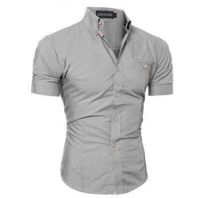 6cad1f693410 ... Male Short Sleeve Hawaiian Shirts Casual Metal Buckle Hit Color Slim  Fit Black Mens gray m  Product No  254630. Item specifics  Seller SKU u15   Brand