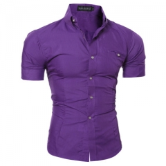 Men Shirt Male Short Sleeve Hawaiian Shirts Casual Metal Buckle Hit Color Slim Fit Black Mens purple 3xl