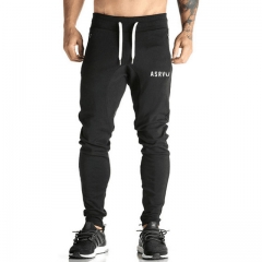 Men Fitness Bodybuilding Gyms Pants For Casual Sweatpants Solid Soft Cotton Casual Straight black xl