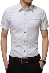 Men's Shirt Men Cotton Short Sleeves Dress Shirt Turn-down Collar Cardigan Shirt Men Clothes white xl