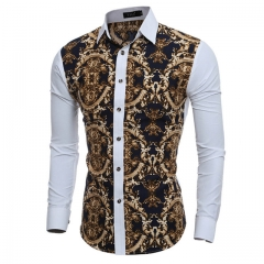 Floral Prints Mens Dress Shirts Long sleeve Slim Fit Casual Social Camisas Masculinas for Man 01 2xl