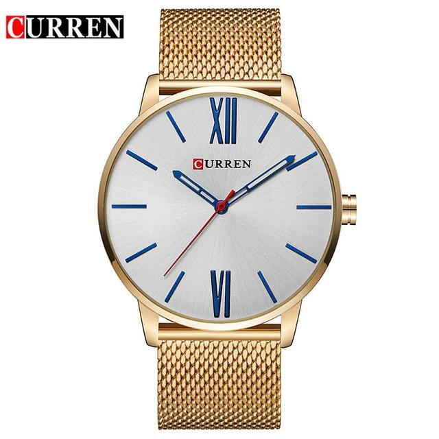 Men's Fashion Casual Business Wristwatches Curren Watches Men Brand Luxury Full Steel Quartz Watch 01