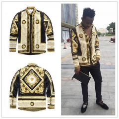 2018 Spring Fashion 3D Long sleeve Men's shirts Random patchwork Print Casual Linen Shirt 01 l
