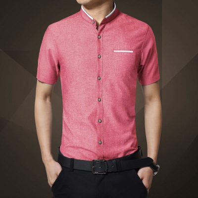 Fashion Brand Clothing Mens Short Sleeve Shirt Summer New Mandarin Collar Slim r red m