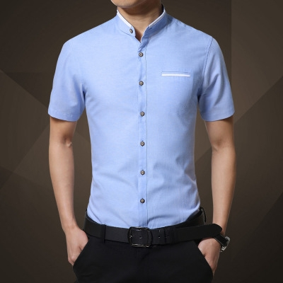 Fashion Brand Clothing Mens Short Sleeve Shirt Summer New Mandarin Collar Slim r sky blue 4xl
