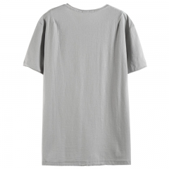 GustOmerD Big Pocket Decorated Men Short Sleeve O-neck Mens T-shirts Casual Loose Fitness Tops Tees grey size s 50 to 55kg