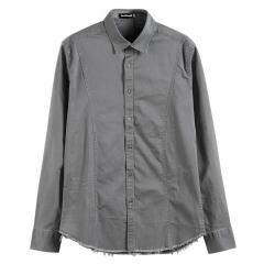 GustOmerD  New Autumn Tassel Design Men Long Sleeve Cotton Shirt Men Solid Casual Slim Male Shirt grey size s 50 to 55kg
