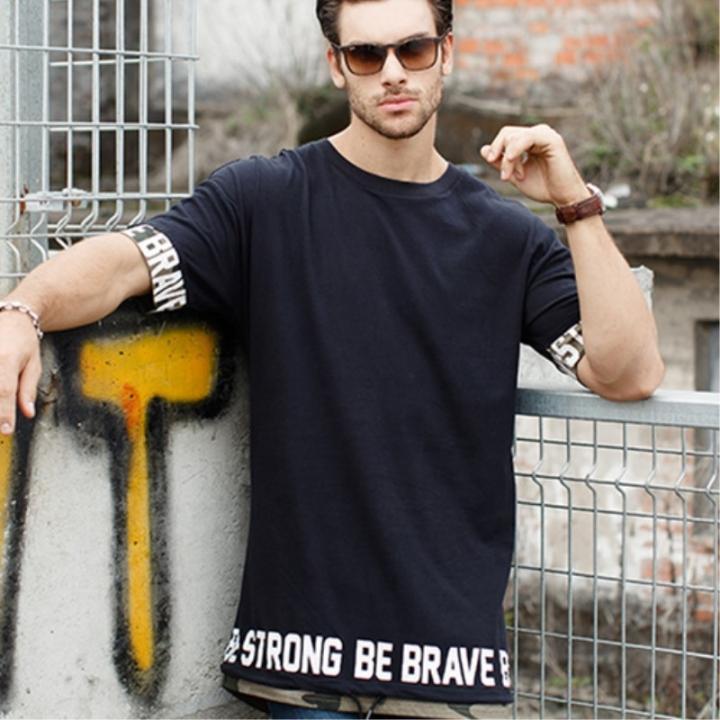 9c06a2af5702d0 GustOmerD Hip Hop Street Style Tops Tees Long Length Camouflage Patchwork  Men T Shirts black size