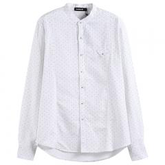 GustOmerD  Shirt Men Fashion Stand Collar Pure Cotton Men Shirt Long Sleeve Dot Slim Brand Clothes white size s 50 to 55kg