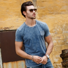 GustOmerD Brand New Fashion Patchwork Short Sleeve Tops Pure Cotton  Casual T-shirt Men denim blue size xl 72 to 80kg