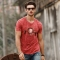 GustOmerD Brand New Fashion  PrintedO-neck Pure Cotton Trend Casual Mens  T-shirt Tops Tees red size xl 72 to 80kg