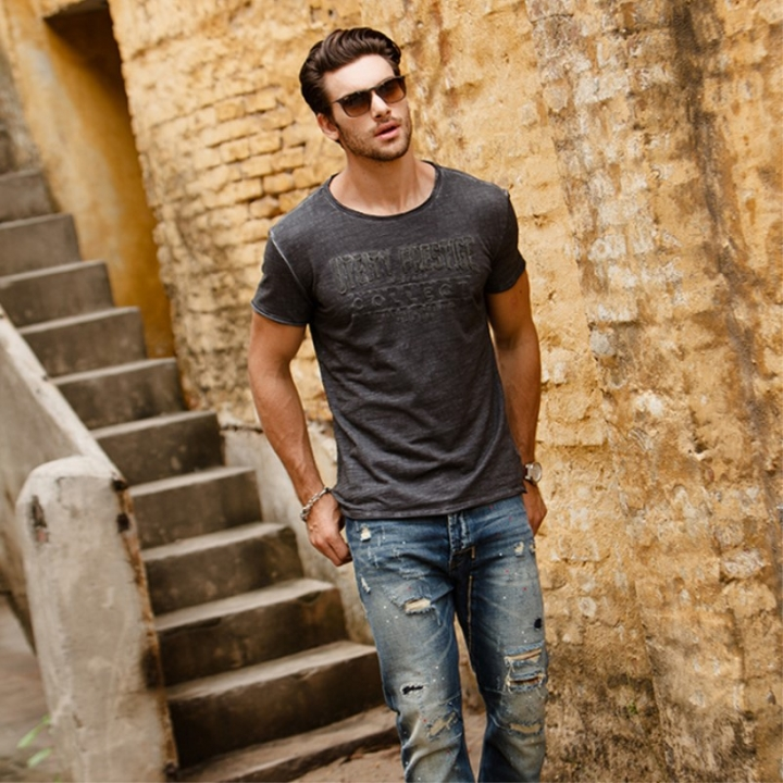 GustOmerD Summer  Printed Fashion Cotton  Slim Fit Short Sleeve Tops Mens Casual T Shirts dark grey size l 65 to 72kg