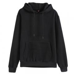 GustOmerD Hoodies Solid Cotton Hoody Mens Sweatshirt Thicken Velvet Male Solid Casual Hooded Jacket black s