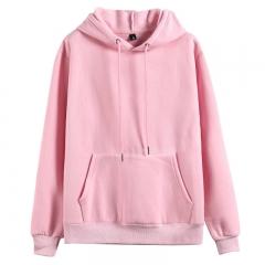 GustOmerD Hoodies Solid Cotton Hoody Mens Sweatshirt Thicken Velvet Male Solid Casual Hooded Jacket pink m