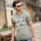 GustOmerD  Summer Letter Printing O-neck Brand High Quality Slim Fit Mens Tops Casual T shirts grey size xl 72 to 80kg