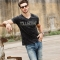 GustOmerD Brand New  V-neck Collectand  Pure Cotton  Short Sleeve T shirt Man's Trend Tops black size xl 65 to 72kg