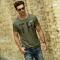 GustOmerD Original Design  Casual Cotton Short Sleeve O Neck Tops Tees Slim Fit T Shirt Men green size xl 65 to 72kg