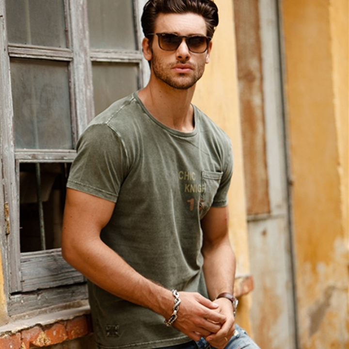 GustOmerD Summer  Pocket Patchwork  Brand Clothes  Casual Cotton Tops Short Sleeve Men T shirts army green size xl 65 to 72kg