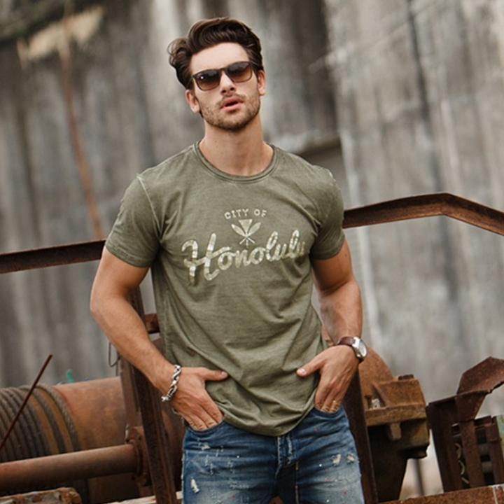 GustOmerD  Fashion  Brand Clothes Summer Cotton Slim Fit Solid Color Mens Casual Tops T shirts army green size xl 65 to 72kg