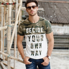 GustOmerD 2017 New Style Summer Camouflage Patchwork T-shirt Men's Clothing Brand Men's Clothing as photo size xl 72 to 80kg
