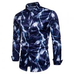 2017 Fashion Wild Men Lightning Feather Digital Print Long Sleeve Shirt navy size s 50 to 55kg