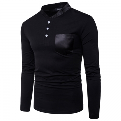 2017 Fashion Leather Neckline Large Body Pockets Decorative Men's Leisure Long Sleeved T Shirt black size m 50 to 58kg