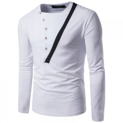 2017 Foreign Trade Retro Personality Semi Open Color Matching Men's Leisure Long Sleeved T Shirt white size 2xl 72 to 80kg