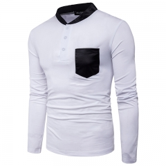 2017 Fashion Leather Neckline Large Body Pockets Decorative Men's Leisure Long Sleeved T Shirt white size 2xl 72 to 80kg