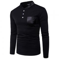 2017 Fashion Leather Neckline Large Body Pockets Decorative Men's Leisure Long Sleeved T Shirt black size m 50 to 58kg