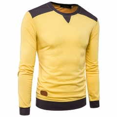 2017 Solid Color Large Body Neckline Shoulder Matching Men's Leisure Long Sleeved T Shirt yellow size 2xl 72 to 80kg