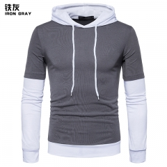 2017 New Pierced Man Long Sleeved Hooded Sleeve Stripe Color Matching Fashion Slim T-shirt iron grey size 2xl 80 to 88kg