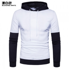 2017 New Pierced Man Long Sleeved Hooded Sleeve Stripe Color Matching Fashion Slim T-shirt white size s 50 to 58kg