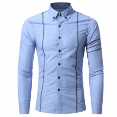 2017 Autumn New Design Fashion Men Clothing Slim Fit Men Shirt Long Sleeve Casual Dress Shirt Men light blue size m 50 to 58kg