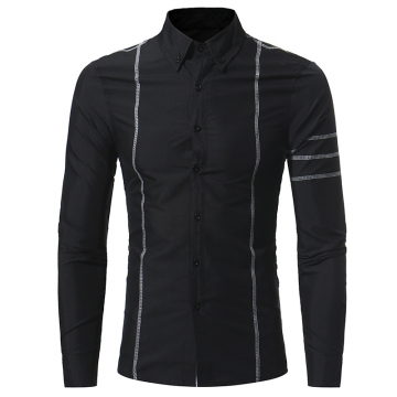 2017 Autumn New Design Fashion Men Clothing Slim Fit Men Shirt Long Sleeve Casual Dress Shirt Men black size m 50 to 58kg