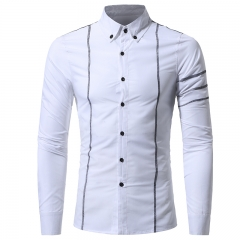 2017 Autumn New Design Fashion Men Clothing Slim Fit Men Shirt Long Sleeve Casual Dress Shirt Men white size 3xl 80 to 88kg