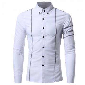 2017 Autumn New Design Fashion Men Clothing Slim Fit Men Shirt Long