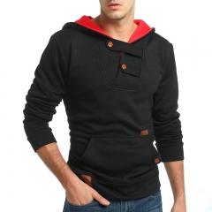 2017 New Style Male Fashion Color Contrast Hat Casual Sweater Pin Sweater Coat black size m 50 to 58kg